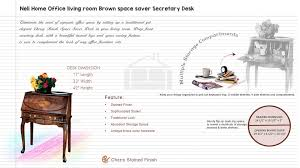 Secretary Desk With Storage by Neli Home Office Living Room Brown Space Saver Secretary Desk