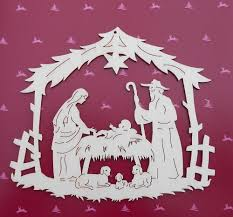 fabulous large german christmas wooden window decoration nativity