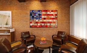 American Flag Home Decor Patriotic Living Room Interior Setting Decorated By Americal Flag