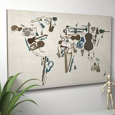 World Map Canvas by Music Instruments World Map Art Print By Artpause