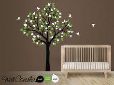 Brown Tree Wall Decal Nursery Willow Wall Decal Set With Fawn Deer Birds Squirrel Removable