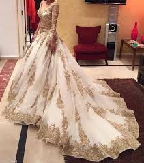 islamic wedding dresses discount muslim wedding dresses white and gold sleeves a line