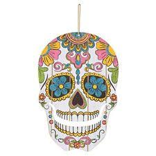 Halloween Day of The Dead Hanging Glitter Skull Decoration 3 Pack