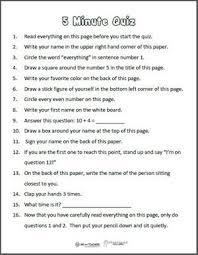 printable organization quiz for students free printable 5 minute directions quiz weareteachers