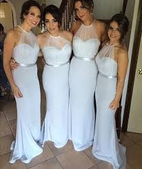 silver bridesmaid dresses aliexpress buy halter mermaid bridesmaid dress navy blue