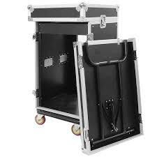 Audio Rack Case 16 Space Rack Case With 10 Space Slant Mixer Top And Dj Work Table