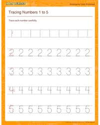 tracing numbers 1 to 5 u2013 free kindergarten math worksheets u2013 math