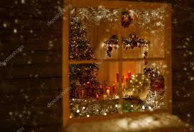 christmas window holiday home lights room decorated by xmas tree