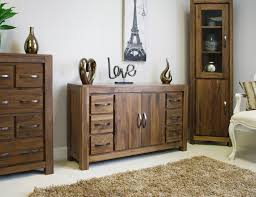 Linea Solid Walnut Home Furniture Large Six Drawer Living Dining - Dining room sideboard