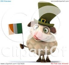 clipart of a 3d happy irish sheep holding a flag royalty free