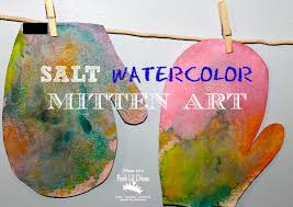 salt watercolor mitten art in preschool from mom to 2 posh lil