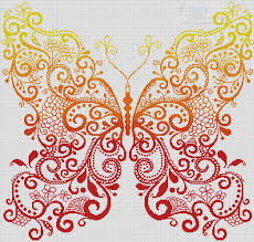artecy cross stitch the orange yellow butterfly cross stitch