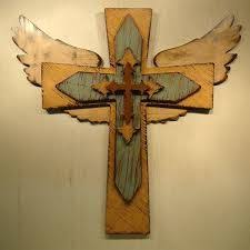 wood crosses custom made to order large wooden angel winged cross wooden