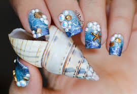 phd nails aquatic nails with picture polish pearls shells and