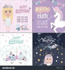 magic happy birthday greeting cards unicorn stock vector 708665653