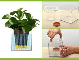 1piece clear tube plant pot flower pot self watering planter