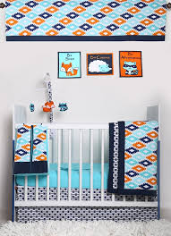 Crib Bedding Set With Bumper Bacati Liam Aztec Aqua Orange Navy 10 Pc Crib Set With 2 Crib