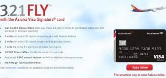 bank of america asiana visa credit card 30 000 bonus miles