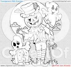halloween graveyard clipart clipart of an outlined waving halloween jackolantern man with