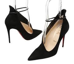 louboutin black suede ankle strap pointed toe vampydoly pumps