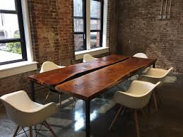 Slab Dining Room Table Steel U0026 Red Oak Slab Conference Table Sd Metalworks