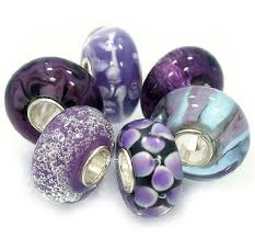 murano glass bead pandora bracelet images 6 bead set shades of honey purple quot murano glass jpg