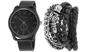 mens watches with bracelet images Up to 73 off on rocawear men 39 s watch bracelet groupon goods jpg