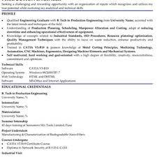Resume Mechanical Engineering Sales Engineer Fresher Resume