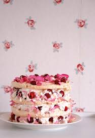 rosewater raspberry and white chocolate vacherin meringue cake