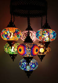 Mosaic Chandelier Turkish Multicolour Turkish Mosaic Hanging Lamp Light Hand Made 7 Large