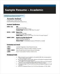 Resume Curriculum Vitae Example by 8 Academic Curriculum Vitae Templates Free Sample Example