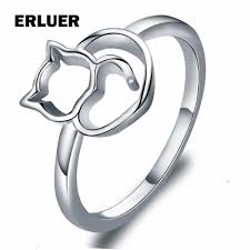cute finger rings images Cute cat rings for women girls simple design silver plated finger jpg