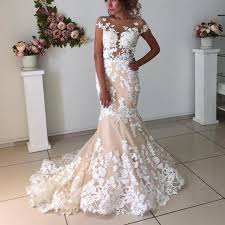 mermaid wedding gowns ivory lace appliques chagne mermaid wedding dresses open back