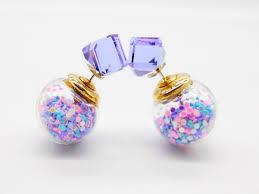 two sided earrings purple dust sided earrings earrings two way