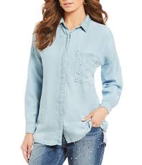 light blue button down shirt women s long sleeve womens democracy drop shoulder embellished pocket