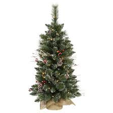 vickerman 3ft prelit snow tipped pine and berry artificial