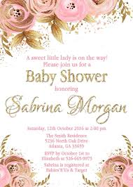 pink and gold baby shower invitations floral pink gold baby shower invitation personalized flowers blush