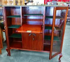 furniture large vintage wooden liquor cabinet with glass doors