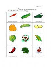 english worksheets fill in the blank the names of vegetables