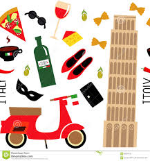 cartoon wine and cheese seamless pattern with cartoon italian symbols pisa tower retro