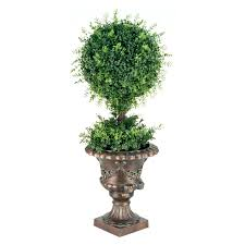 Pre Lit Topiary 36 In Mini Tea Leaf 1 Ball Topiary In Urn Hayneedle