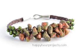 bracelet stone beads images Woven cluster bracelet with stone chip beads happy hour projects jpg