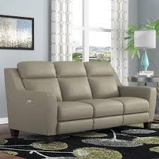 Top Grain Leather Reclining Sofa Latitude Run Florham Gray Top Grain Leather Power Reclining Sofa