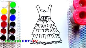 coloring page of beautiful dresses to color with watercolor for