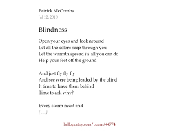 Time Blindness Blindness By Patrick Mccombs Hello Poetry