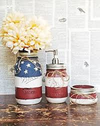 amazon com bathroom accessories mason jar bathroom set red white
