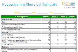 cleaning report template household chore template fieldstation co