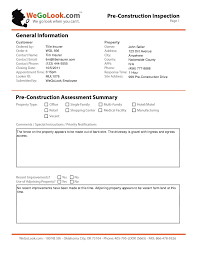 field report template field services pre construction onsite inspection sle report