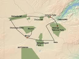 Victoria Falls Map Wildlife Breakaway Botswana Zimbabwe U0026 Namibia