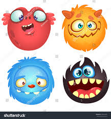 Cartoon Halloween Monsters Cute Cartoon Monsters Vector Set 4 Stock Vector 490619638